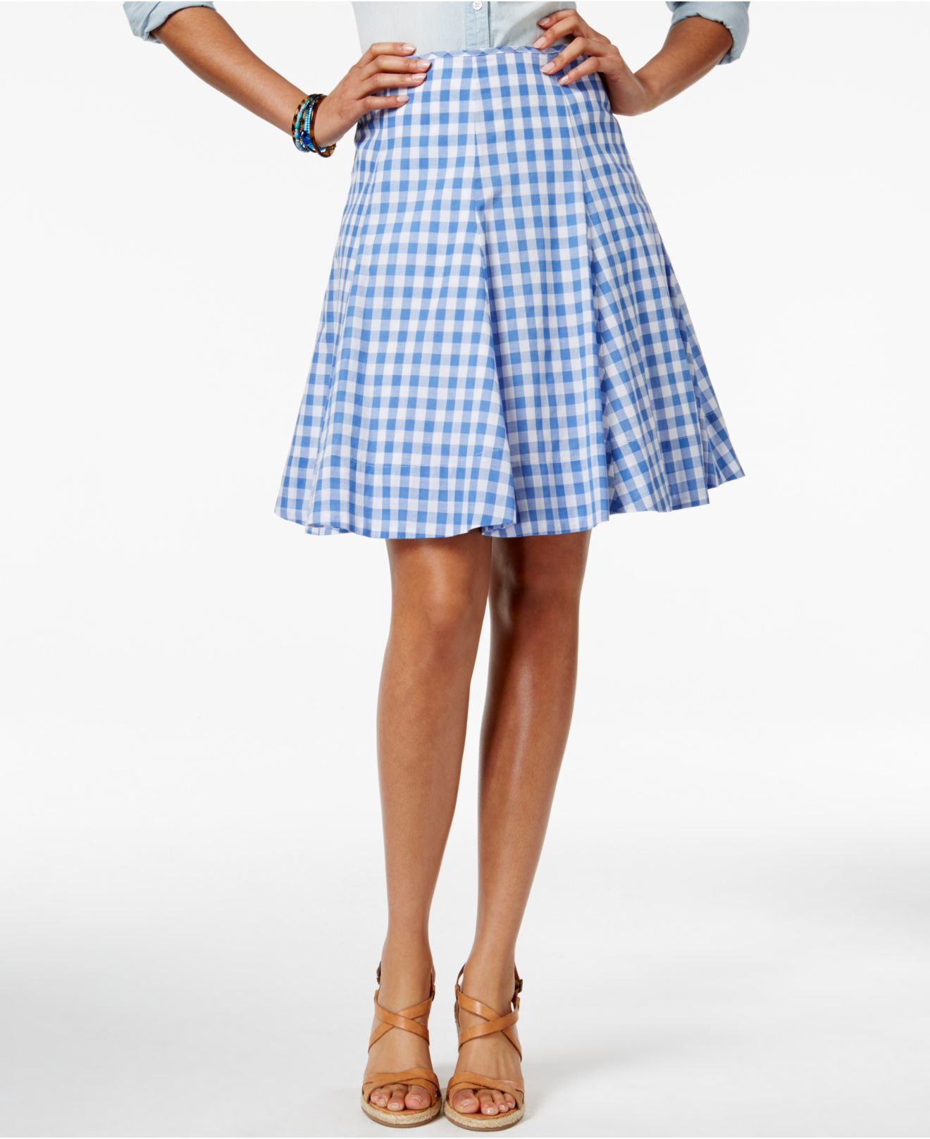 american living plaid a line skirt only at macy s in blue