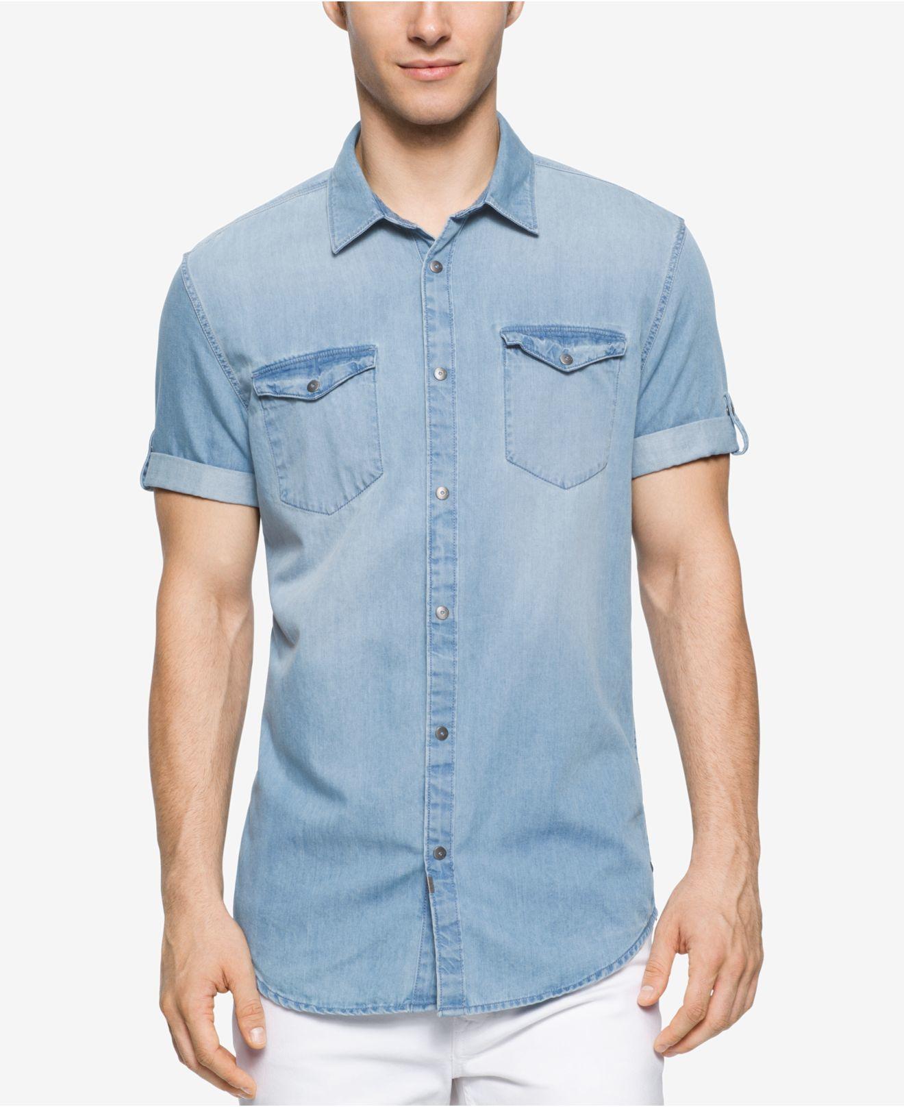calvin klein denim shirt mens