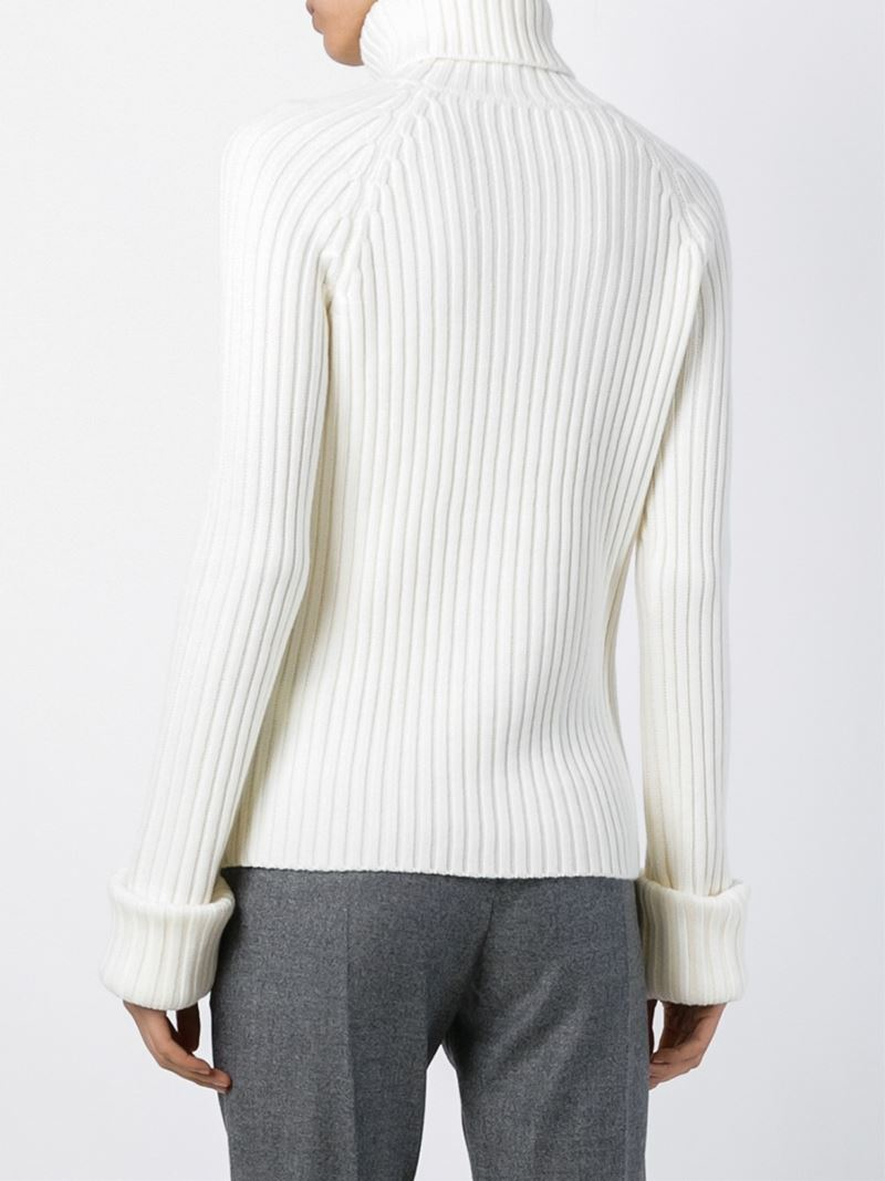 Lyst Joseph Ribbed Turtleneck Sweater In White