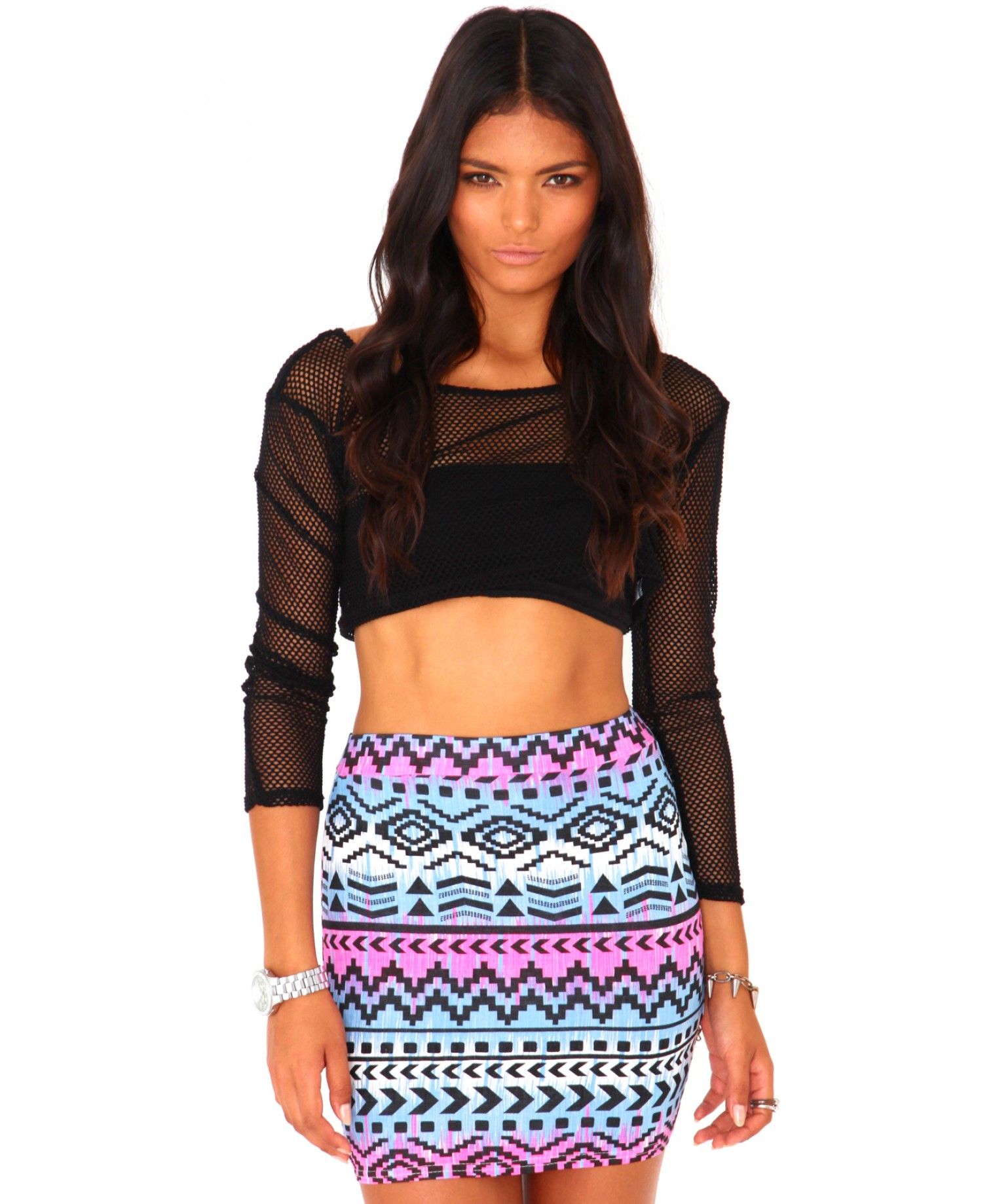 Missguided Helenah Aztec Bodycon Mini Skirt | Lyst