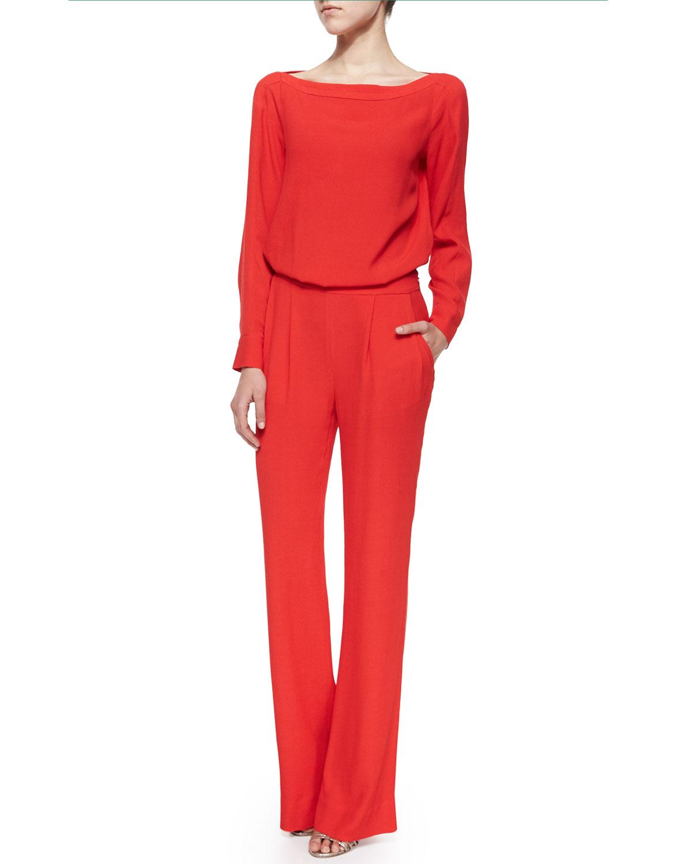 Diane von furstenberg Cynthia Long-Sleeve Jumpsuit in Red | Lyst