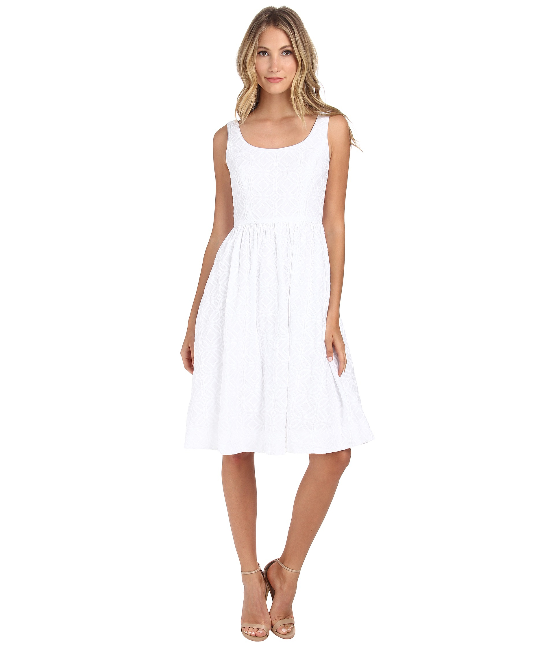 Donna Morgan Embroidered Tea Length Tank Dress In White Lyst