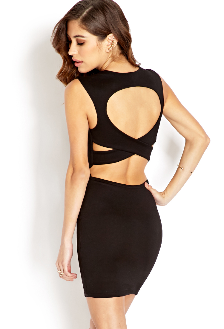 Forever 21 Cutout Craze Bodycon Dress in Black   Lyst