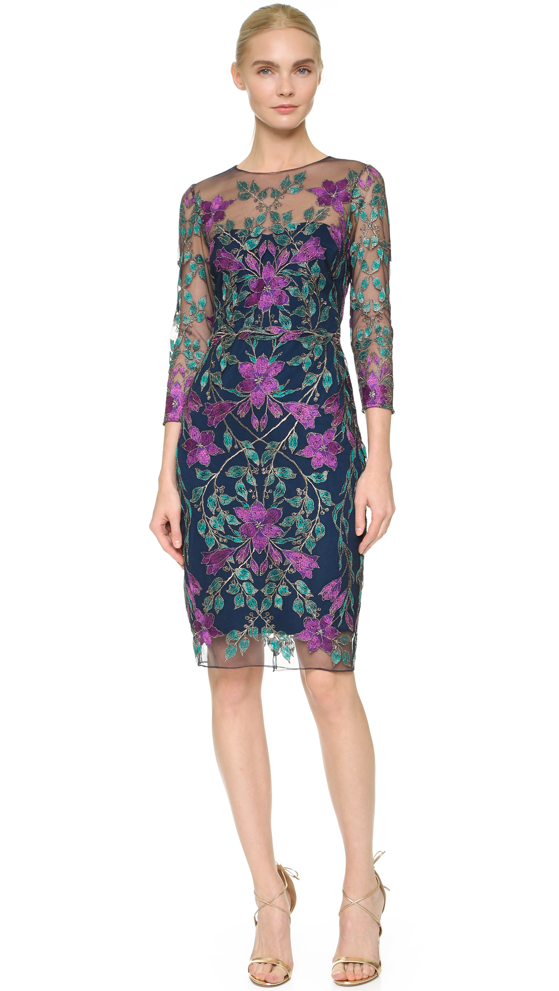 Lyst notte by marchesa embroidered tulle cocktail dress