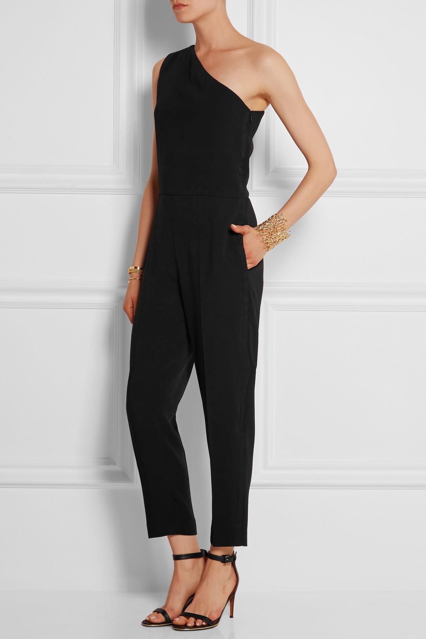 ad1c0aa7730f Stella McCartney - Black Faith One-shoulder Stretch-cady Jumpsuit - Lyst