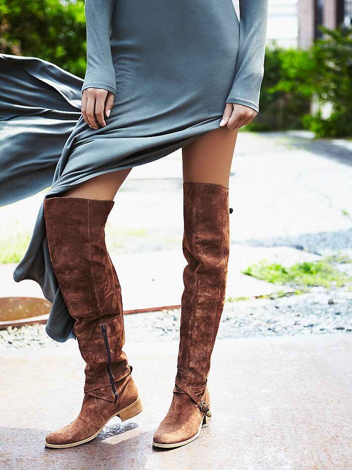 ccb79d7a642 Free People Brown Amorosa Suede Over The Knee Boot