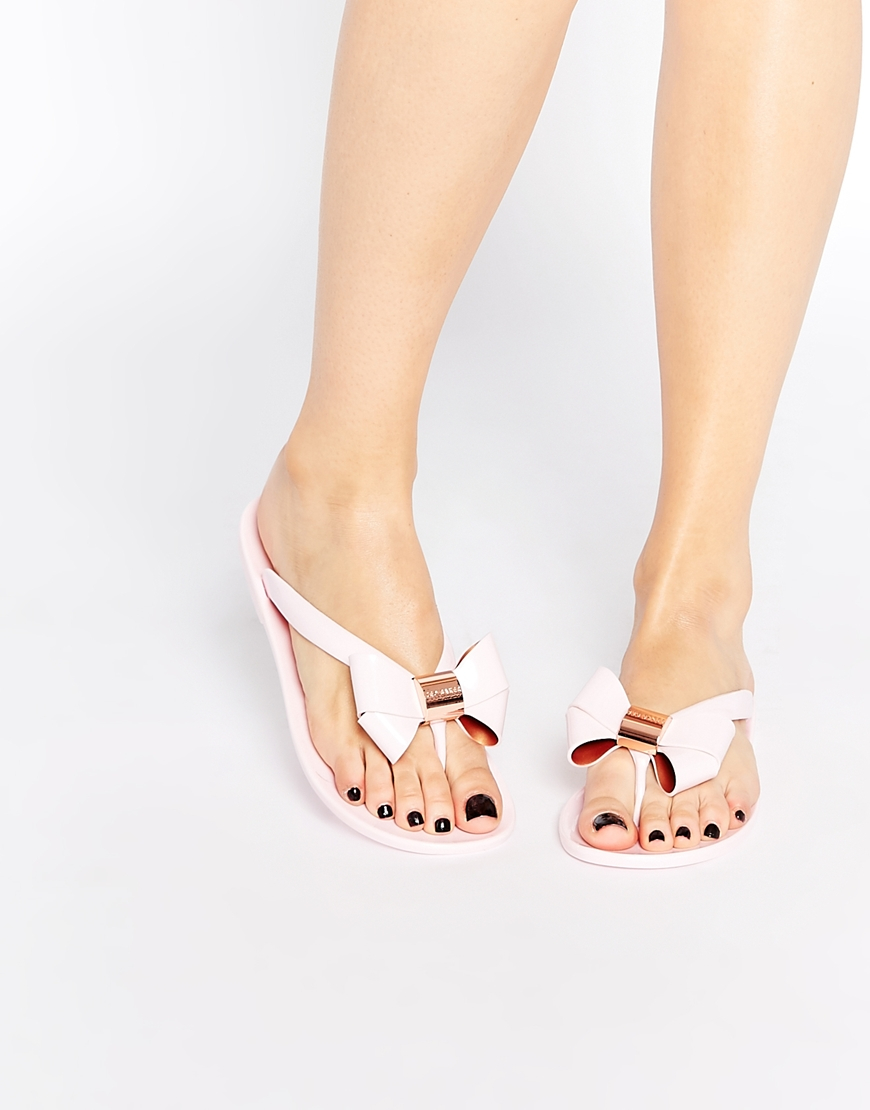 9b32b99ae364bc ... Lyst - Ted Baker Ettiea Pink Oversized Bow Flip Flops in Pink san  francisco 10b6f a6267  Ted Baker Womes Black Cream ...