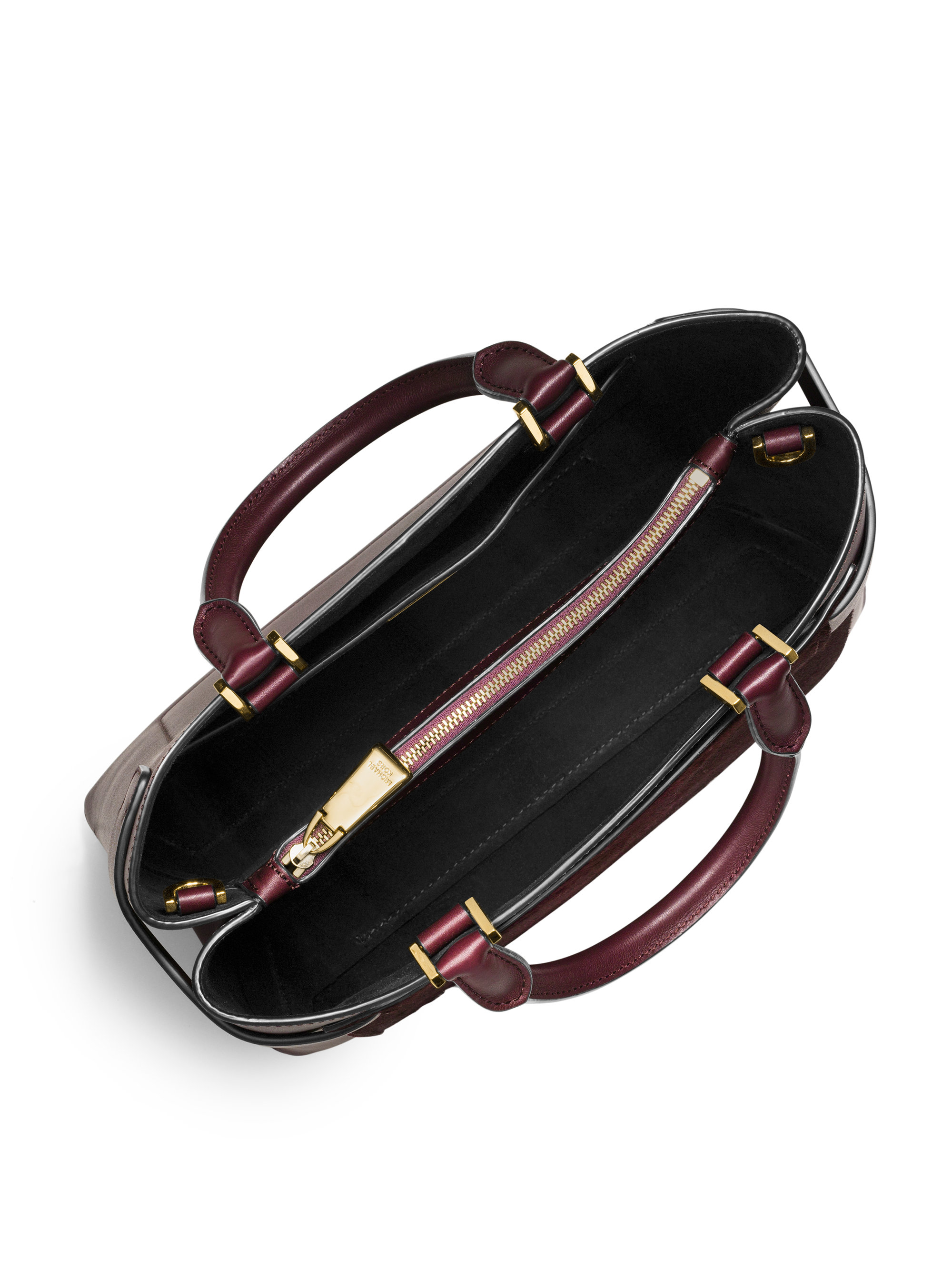 Lyst - Michael Kors Audrey Medium Calf Hair   Leather Satchel in Purple f16829c211ea9