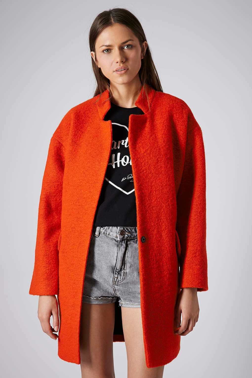 Topshop Boiled Wool Notch Neck Coat In Bright Orange