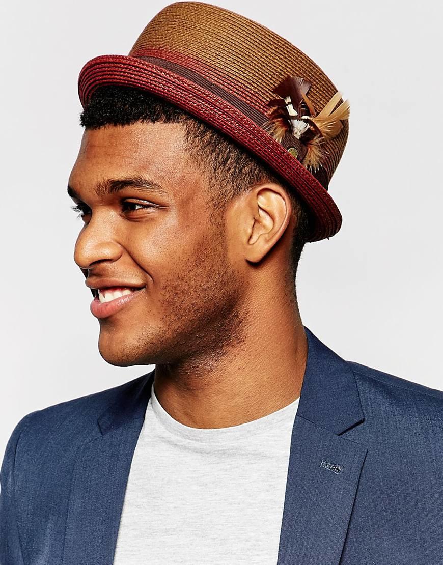 2c400a47b Ted Baker Red Teapart Straw Porkpie Hat for men