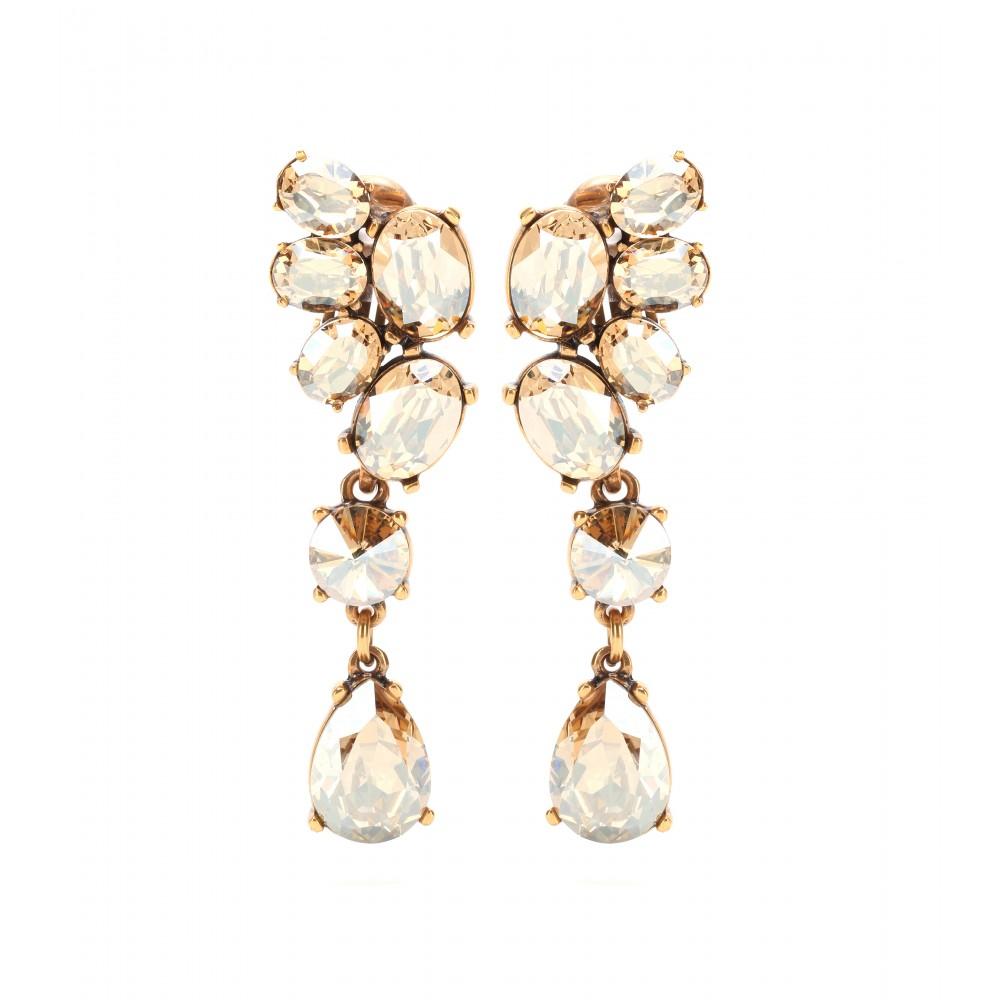 Clipsable Embelli Cristal Boucles D'oreilles Oscar De La Renta F8z1fVmA