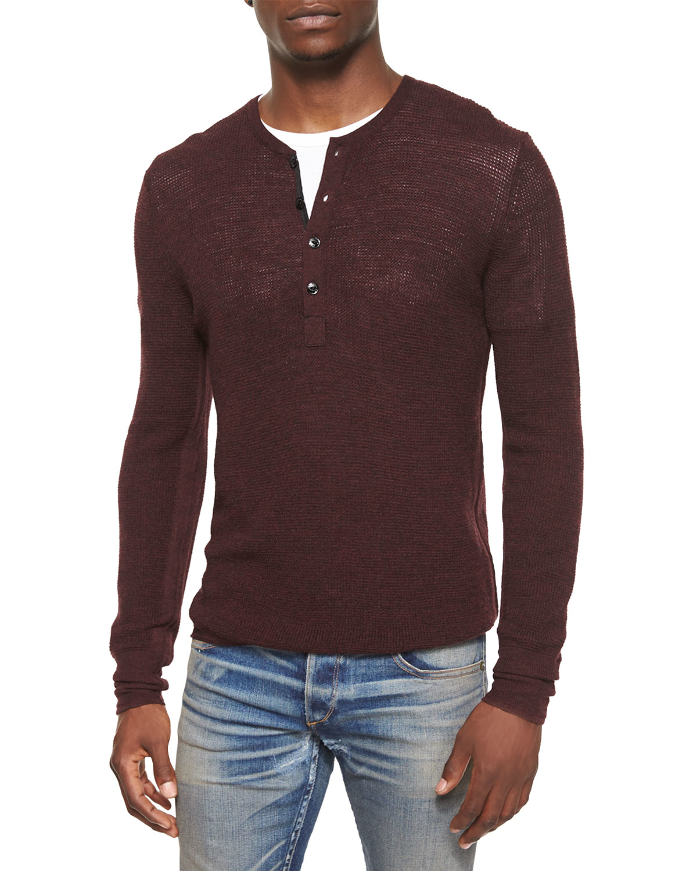 Rag & bone Garrett Long-sleeve Thermal Henley Shirt in Purple for ...