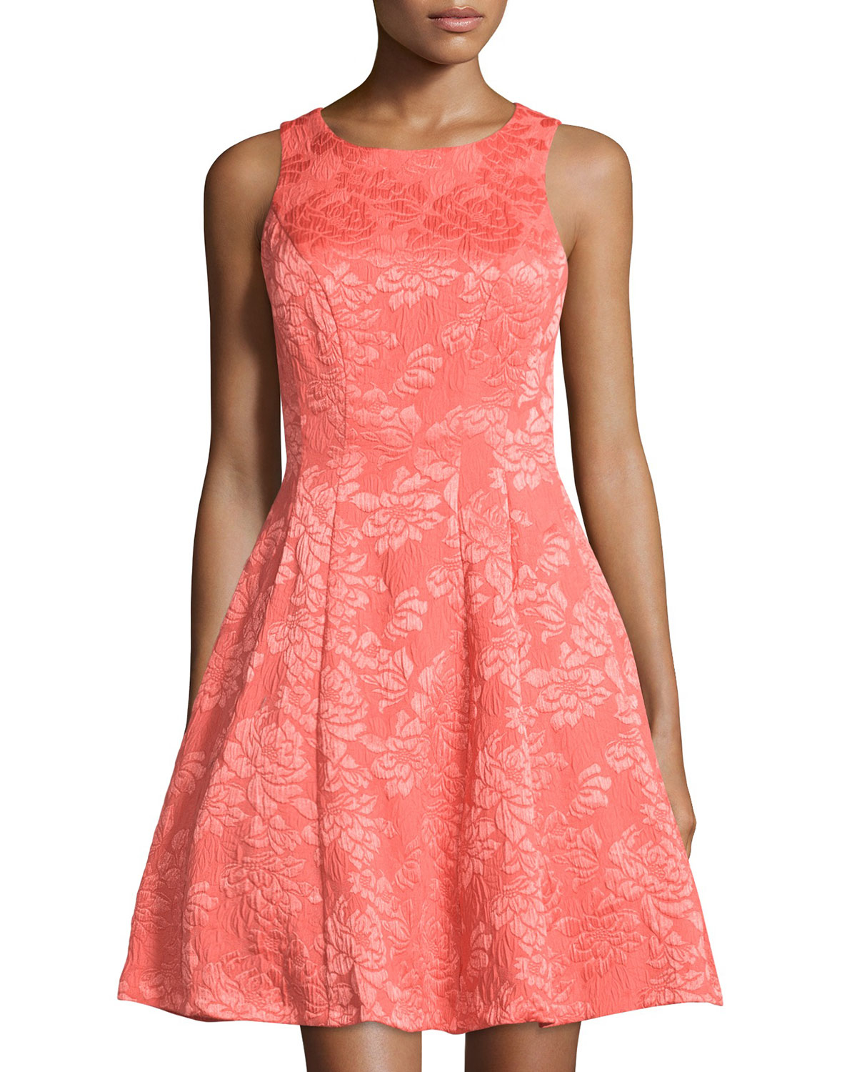 Maggy London Synthetic Rose Jacquard Sleeveless Fit And