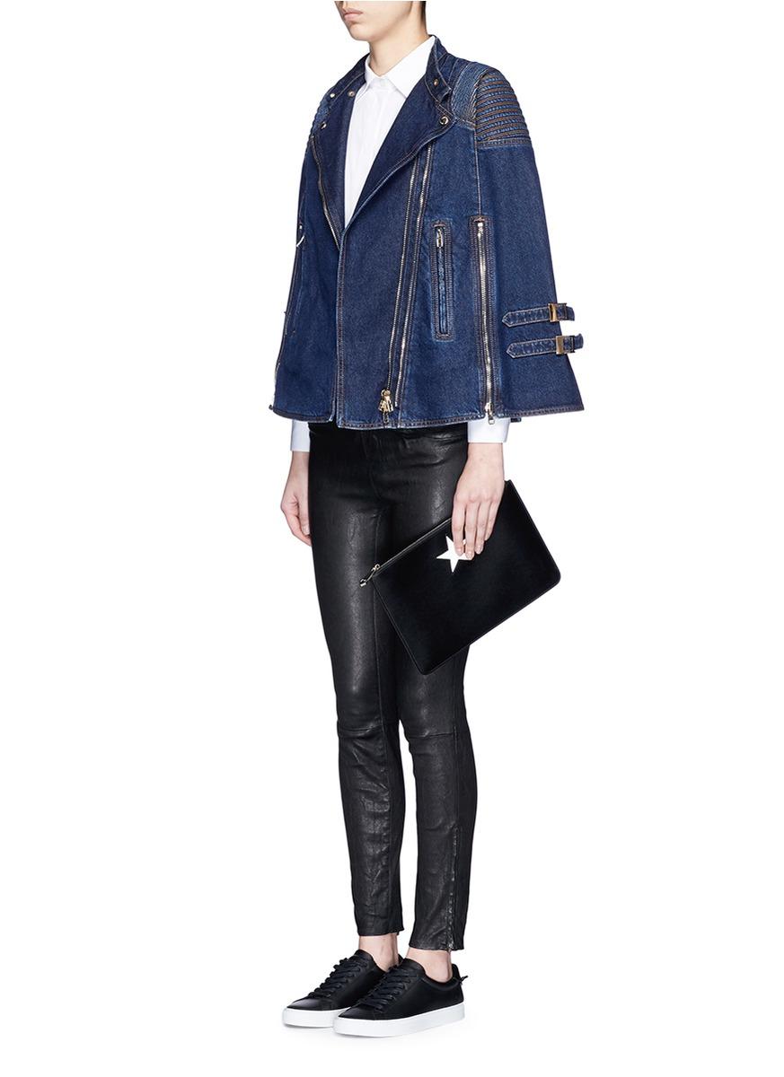 Lyst Givenchy Quilted Shoulder Denim Cape Jacket In Blue