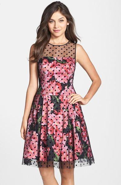 Eliza J Floral Print Illusion Yoke Dress In Pink Lyst