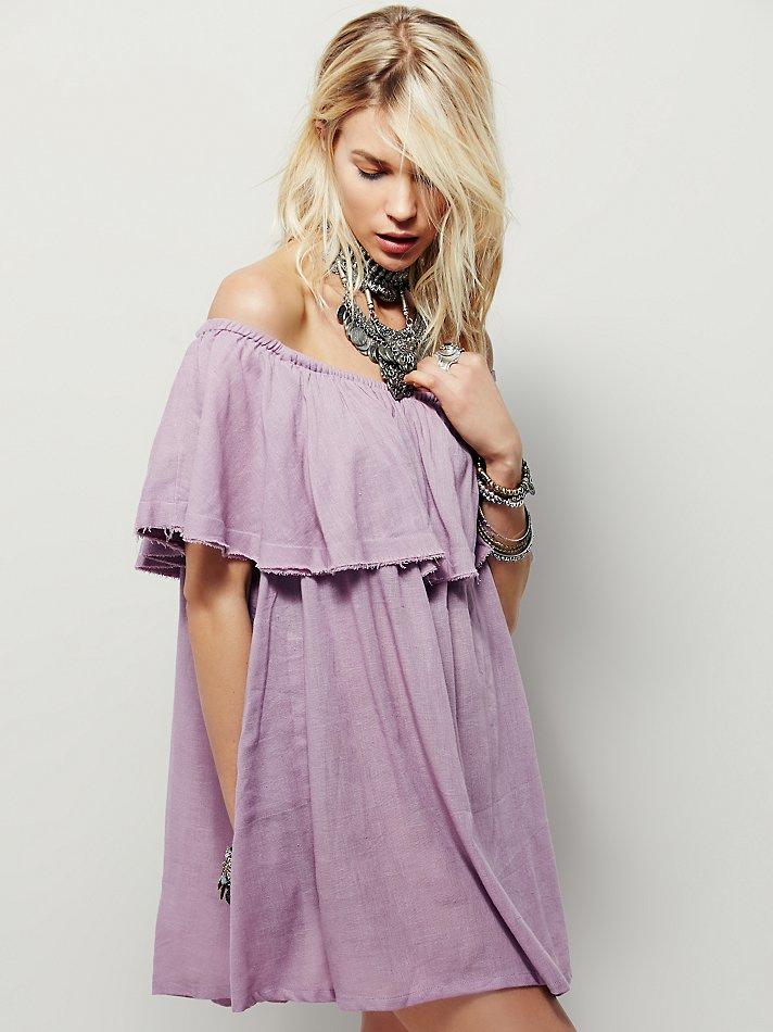 6c15b9f92936 Lyst - Free People Serefina Off The Shoulder Dress in Purple