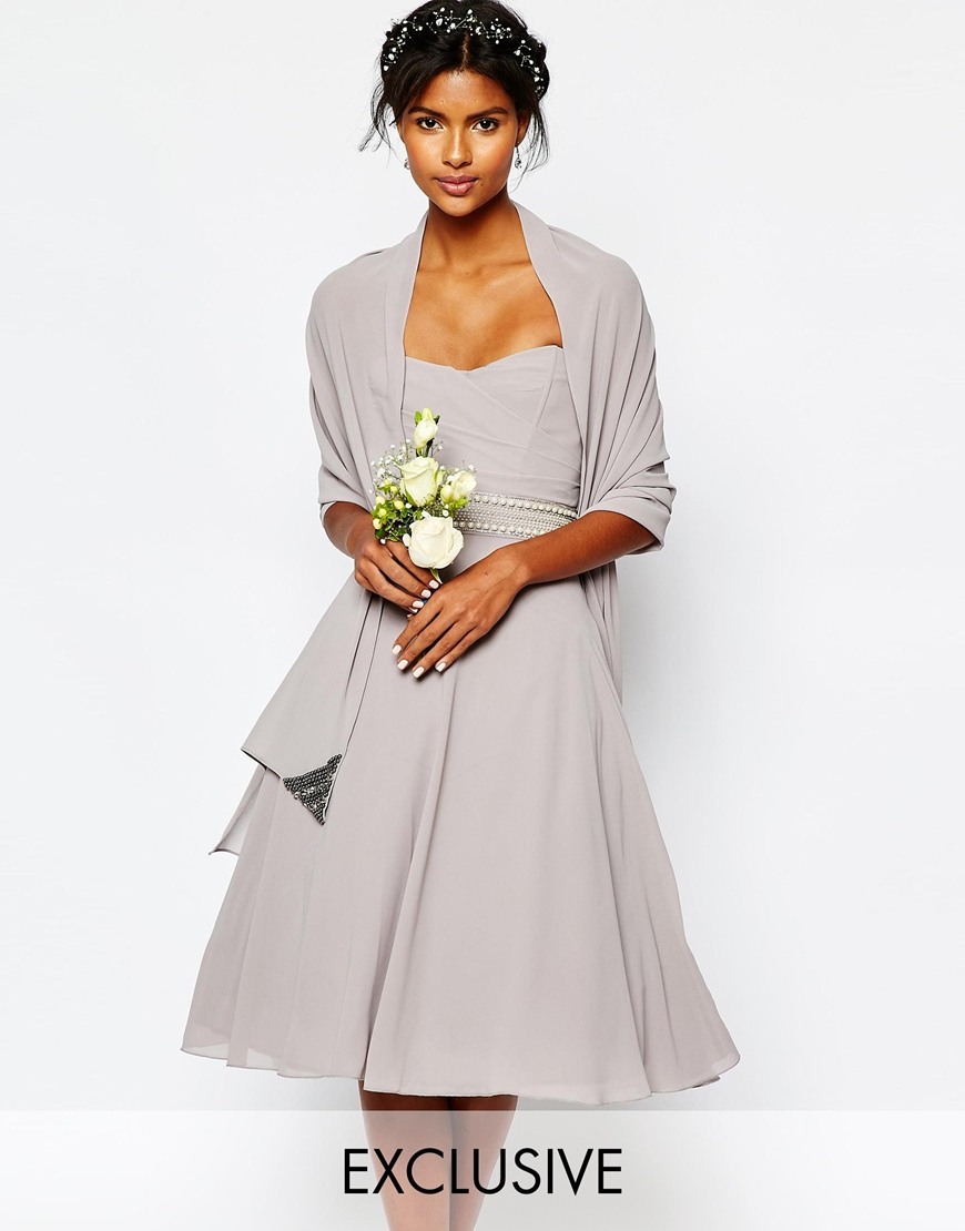 Lyst - Tfnc London Wedding Chiffon Cover Up With Embellishment In ...