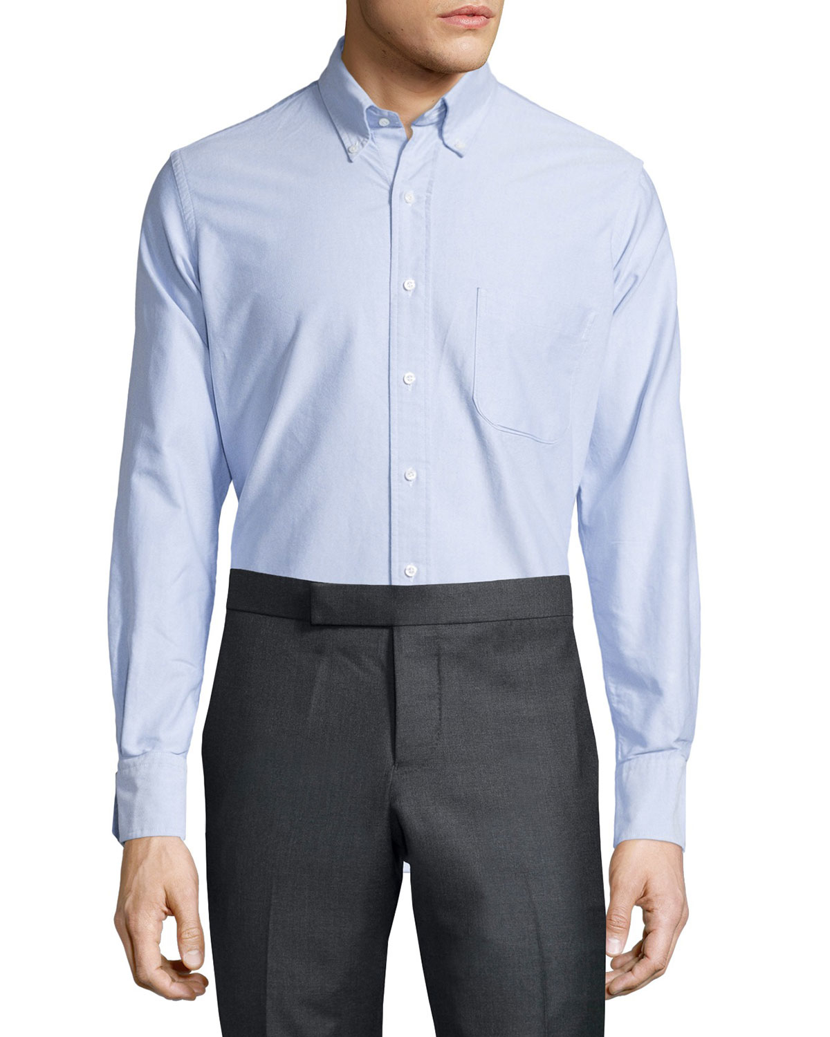 Thom browne oxford dress shirt in white for men blue lyst for White oxford shirt mens