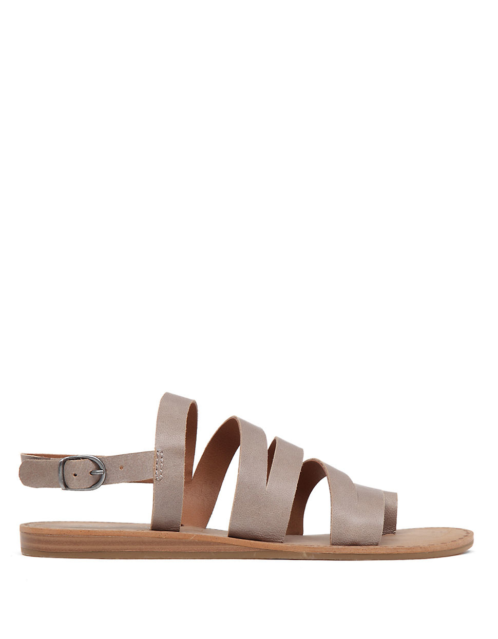 Lucky brand Fairfaxx Leather Open-toe Sandals in Gray | Lyst