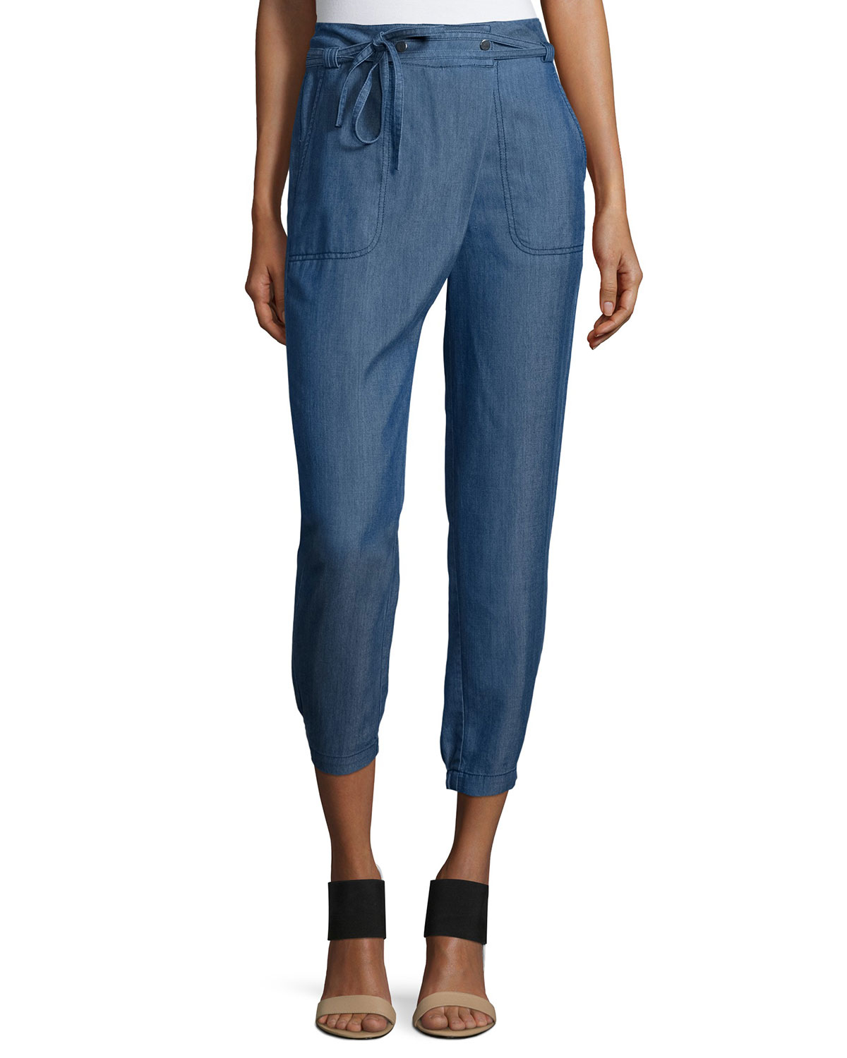 Lyst vince utility wrap front chambray pants in blue for Chambray jeans
