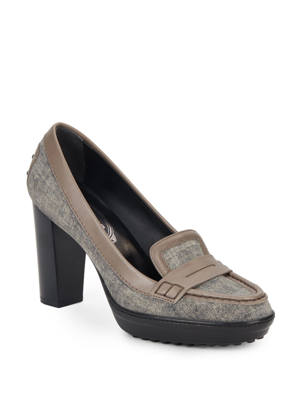 Lyst Tod S Suede Moc Toe Penny Loafer Pumps In Gray