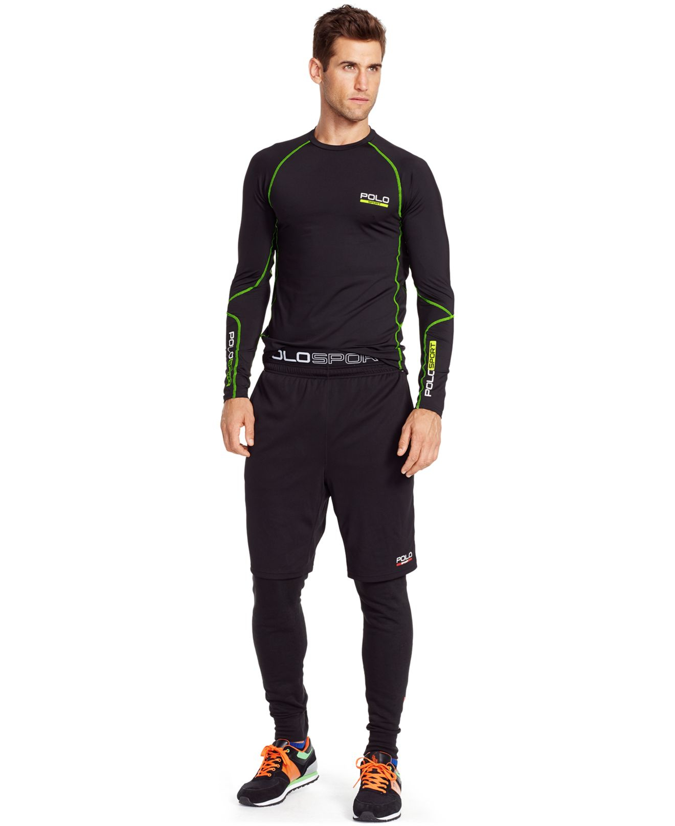 lyst polo ralph lauren all sport compression shirt in black for men. Black Bedroom Furniture Sets. Home Design Ideas