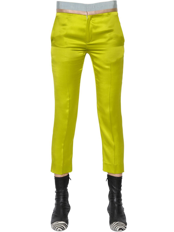 Haider ackermann Cropped Stretch Silk Satin Pants in Green ...