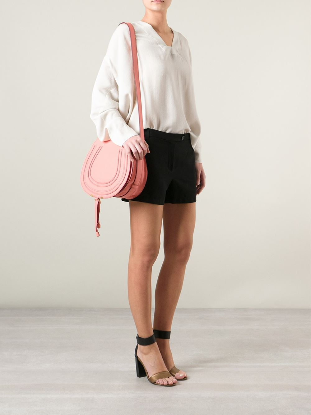 Chlo¨¦ Marcie Cross Body Saddle Bag in Pink (pink \u0026amp; purple) | Lyst