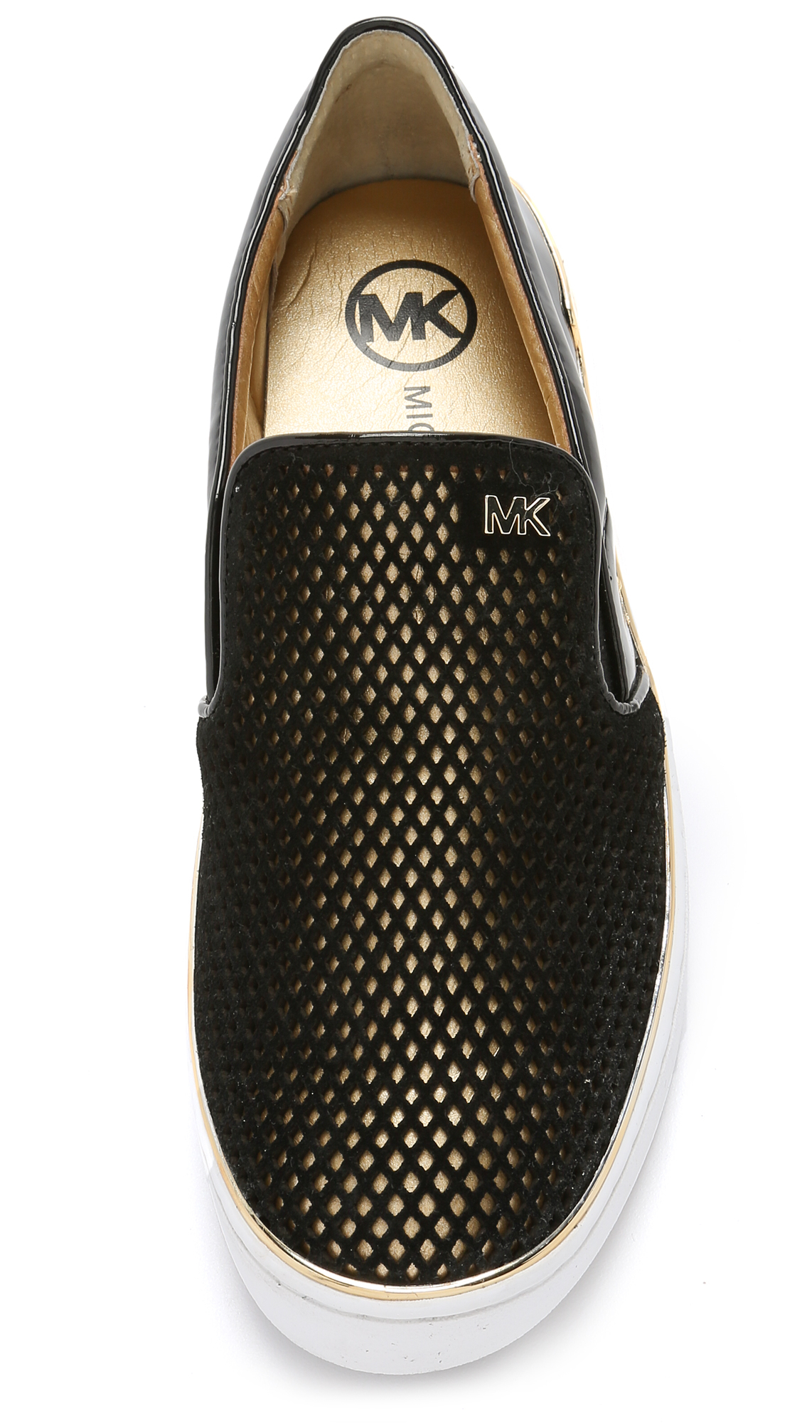 michael michael kors phoebe slip on sneakers black gold. Black Bedroom Furniture Sets. Home Design Ideas