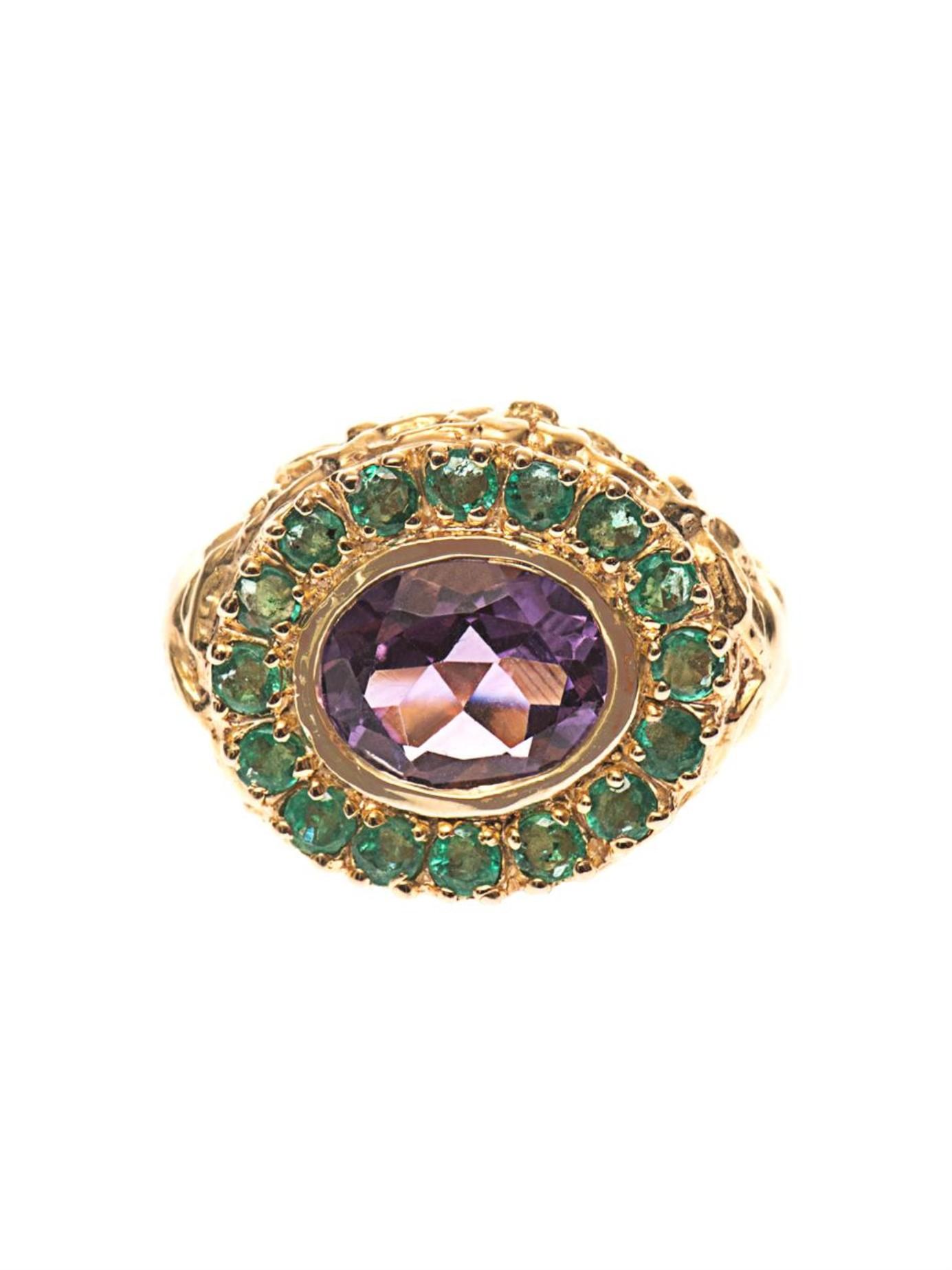 jade jagger amethyst emerald gold plated ring in