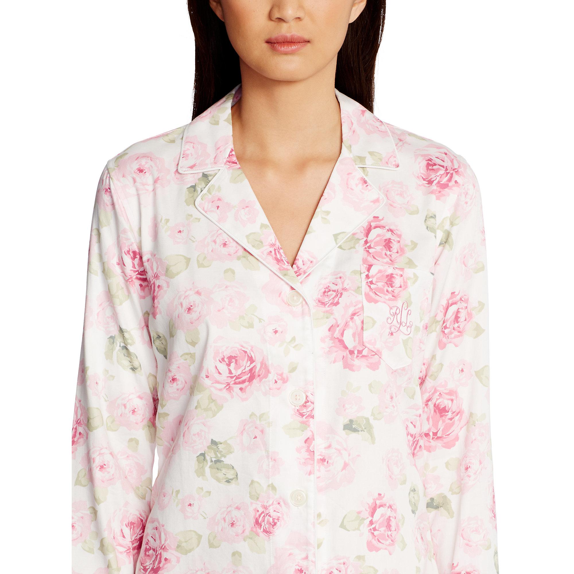 Lyst - Ralph Lauren Cotton Sateen Pajama Set in Pink