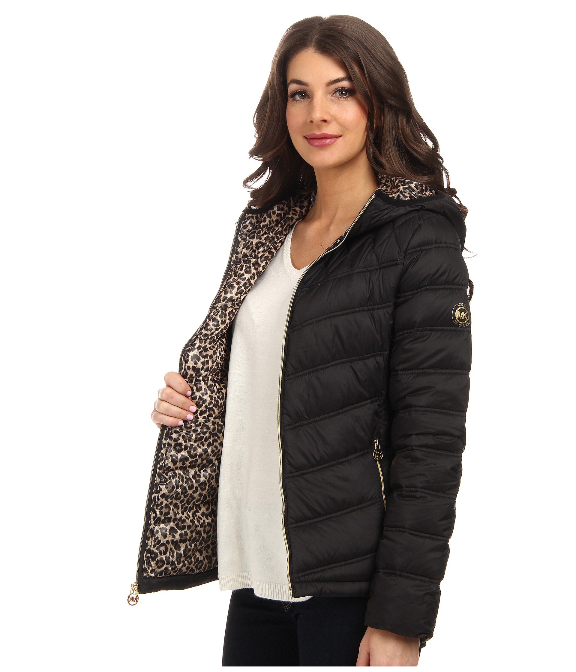 7a2a4853ebd4 MICHAEL Michael Kors Short Packable Contrast Zipper Jacket in Black ...