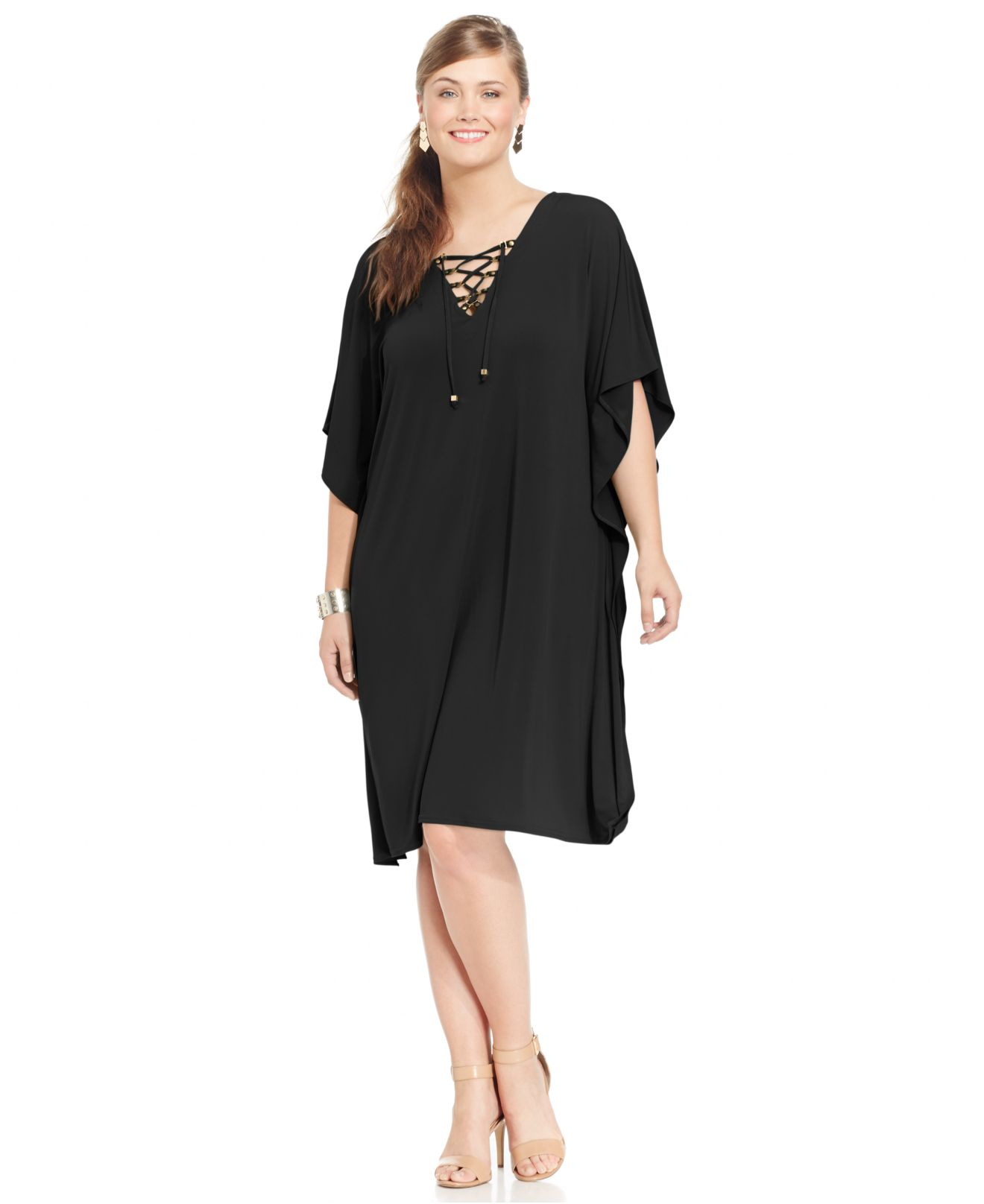 caad93d26f5 Lyst - Spense Plus Size Butterfly-sleeve Lace-up Shift Dress in Black