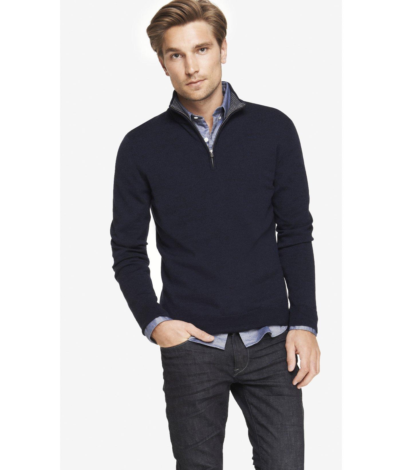 Merino Wool Zip Up Mock Neck Sweater 83