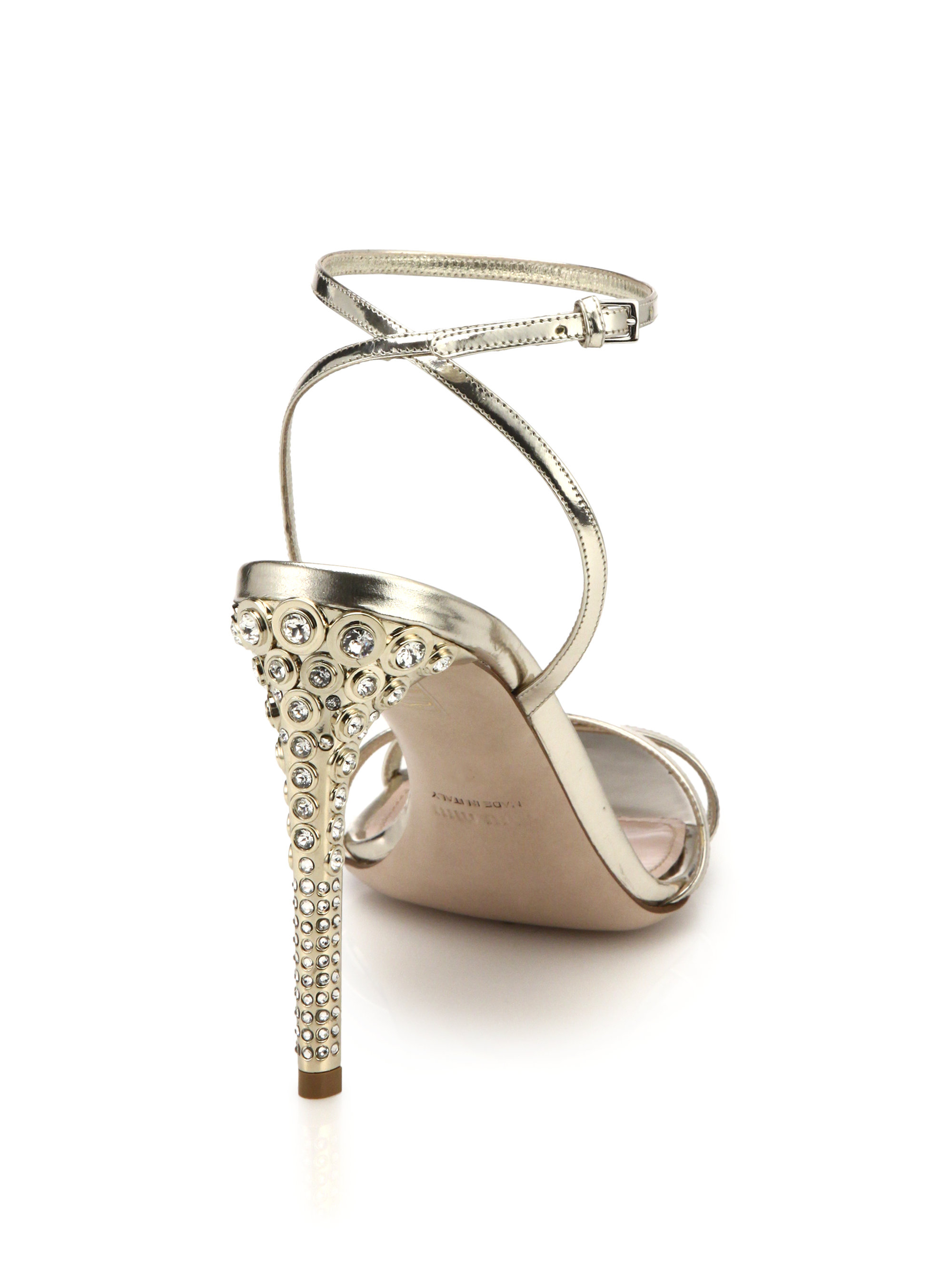 Lyst Miu Miu Swarovski Crystal Heel Metallic Leather