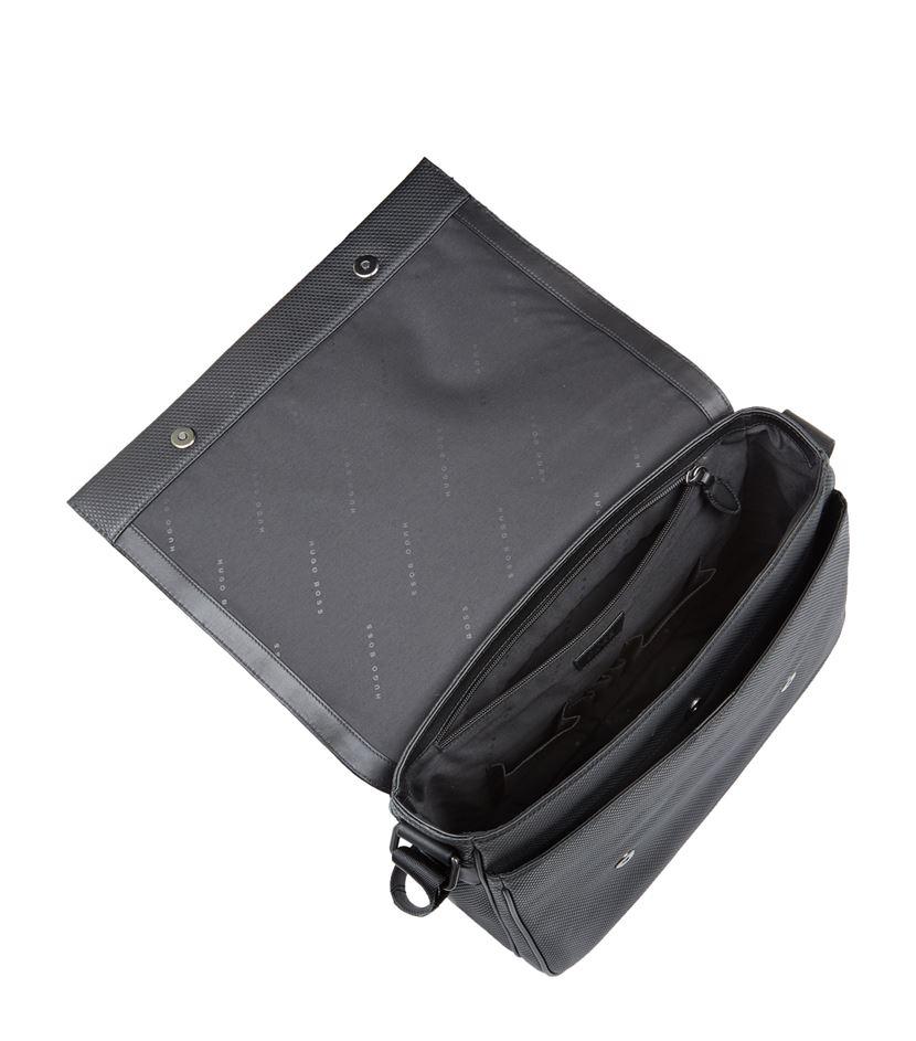 Boss Textured Leather Messenger Bag in Black for Men