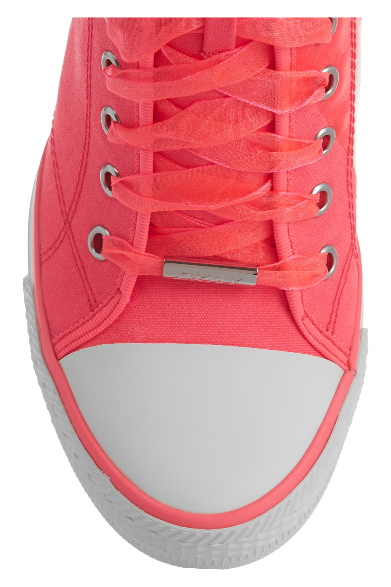 DKNY Neon Canvas Wedge Sneakers in Pink