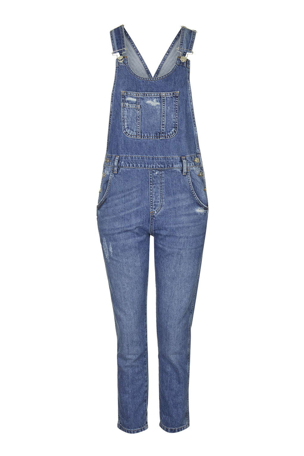 Topshop Moto Long Denim Dungaree In Blue MID STONE Lyst
