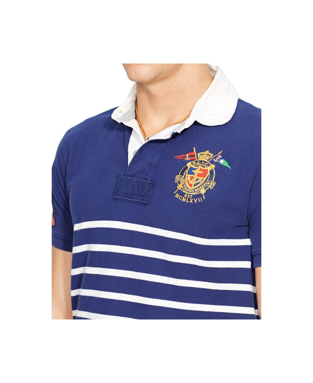 9c7e8fd0265191 Polo Ralph Lauren Striped Yacht Club Rugby Shirt in Blue for Men - Lyst