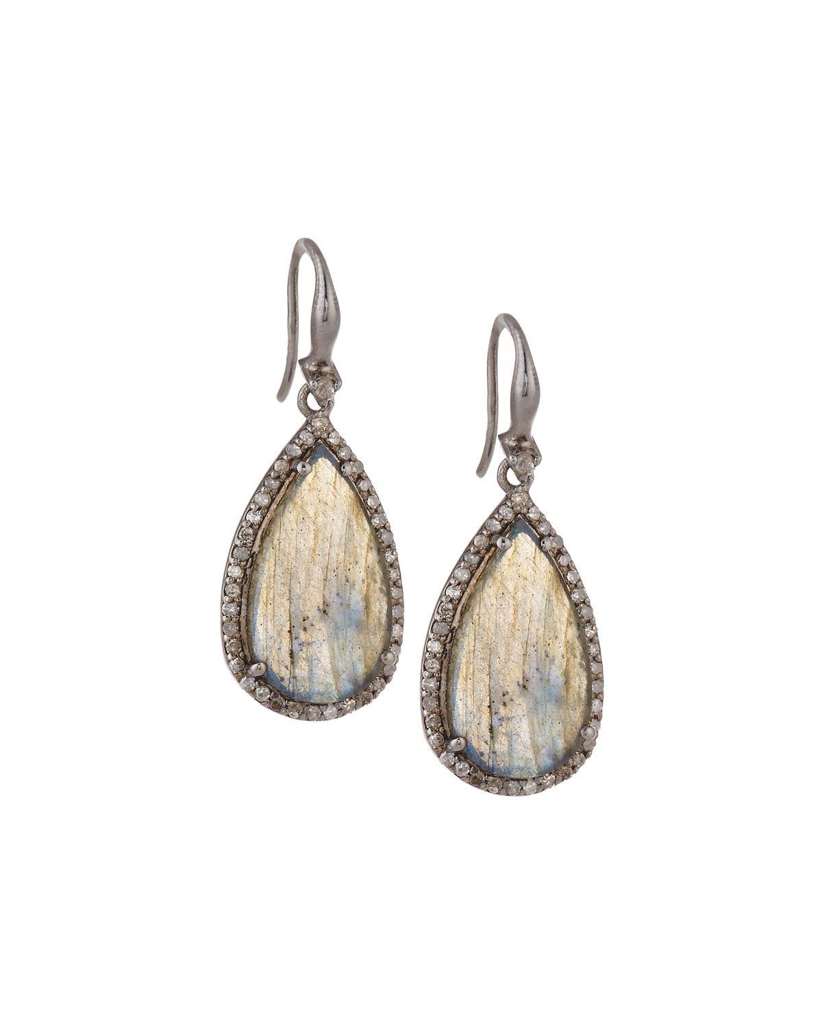 bavna jewelry bavna labradorite pave drop earrings lyst 6578
