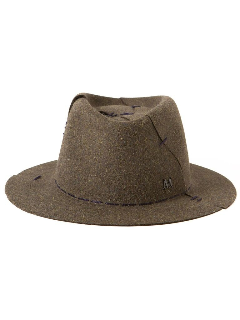 Lyst maison michel andre stitched trilby in natural for Maison michel