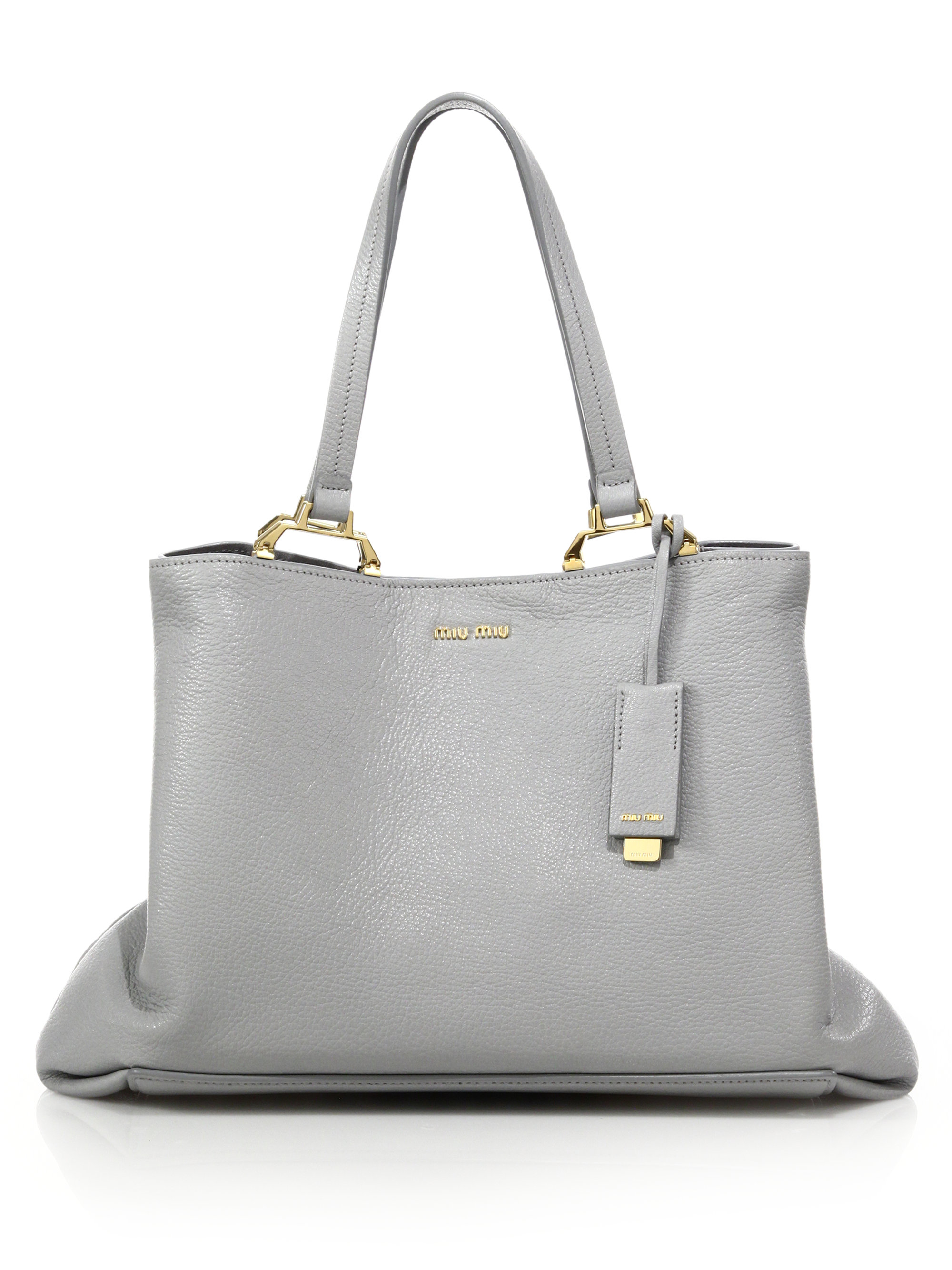 d074a69920be Lyst - Miu Miu Madras Leather Tote in Gray