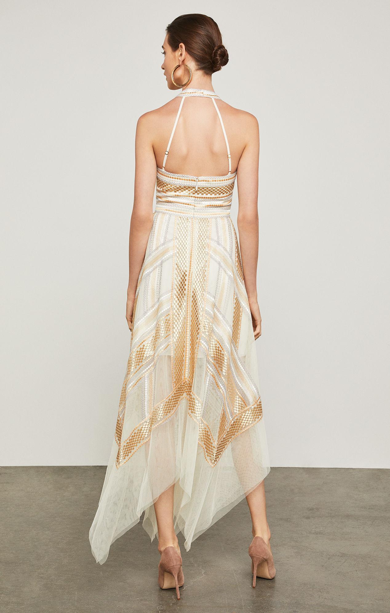 f92fee59a8c4 BCBGMAXAZRIA Bcbg Metallic Striped Handkerchief Dress in Metallic - Lyst