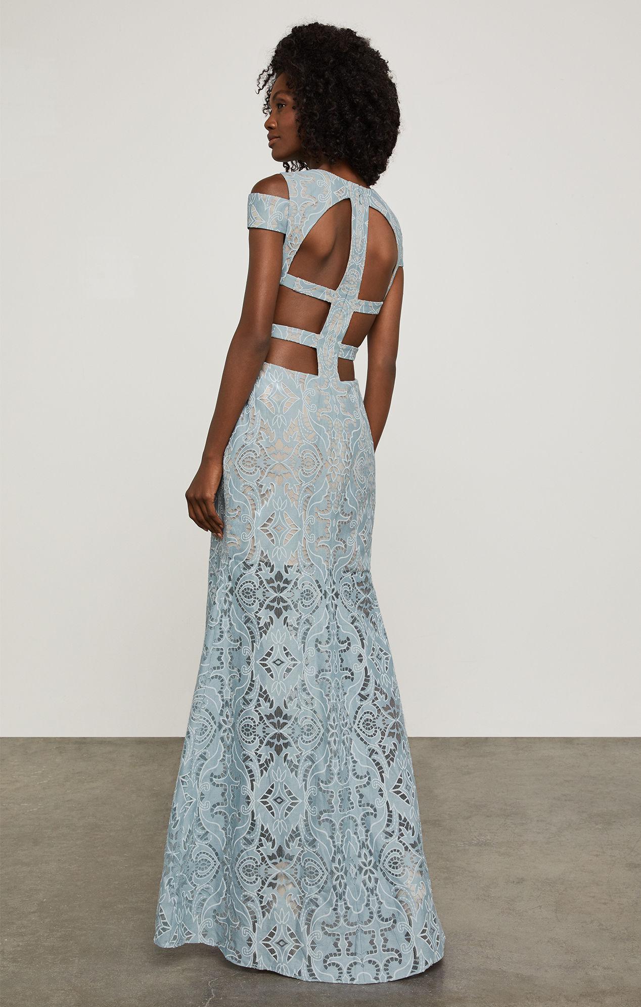 Lyst - Bcbgmaxazria Bcbg Ava Cutout Lace Gown in Blue