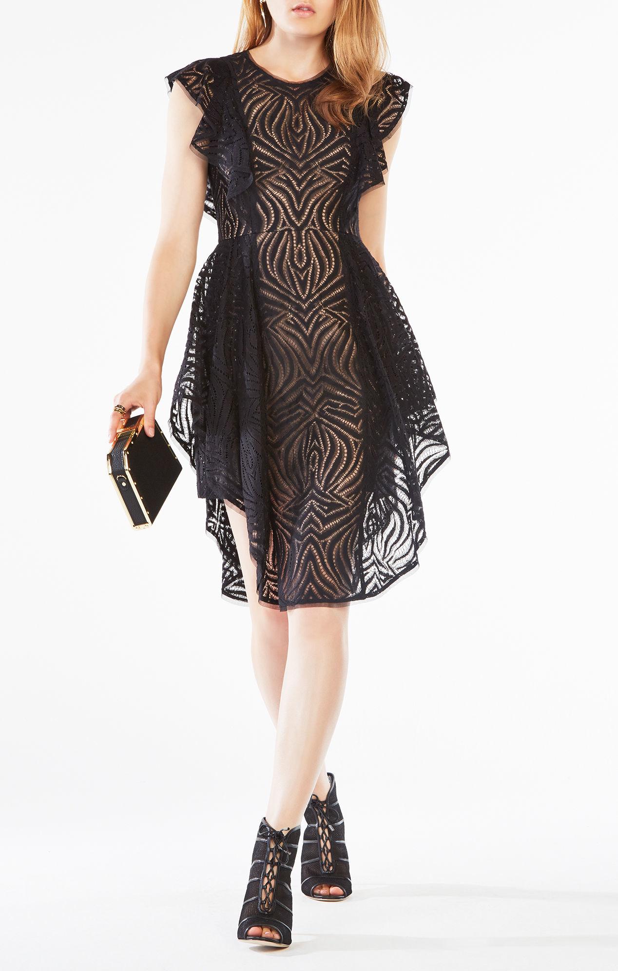 Lyst Bcbgmaxazria Christiania Ruffle Lace Dress In Black