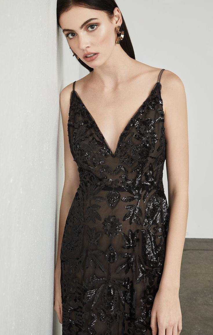 Lyst - Bcbgmaxazria Dorthea Sequin Backless Gown in Black