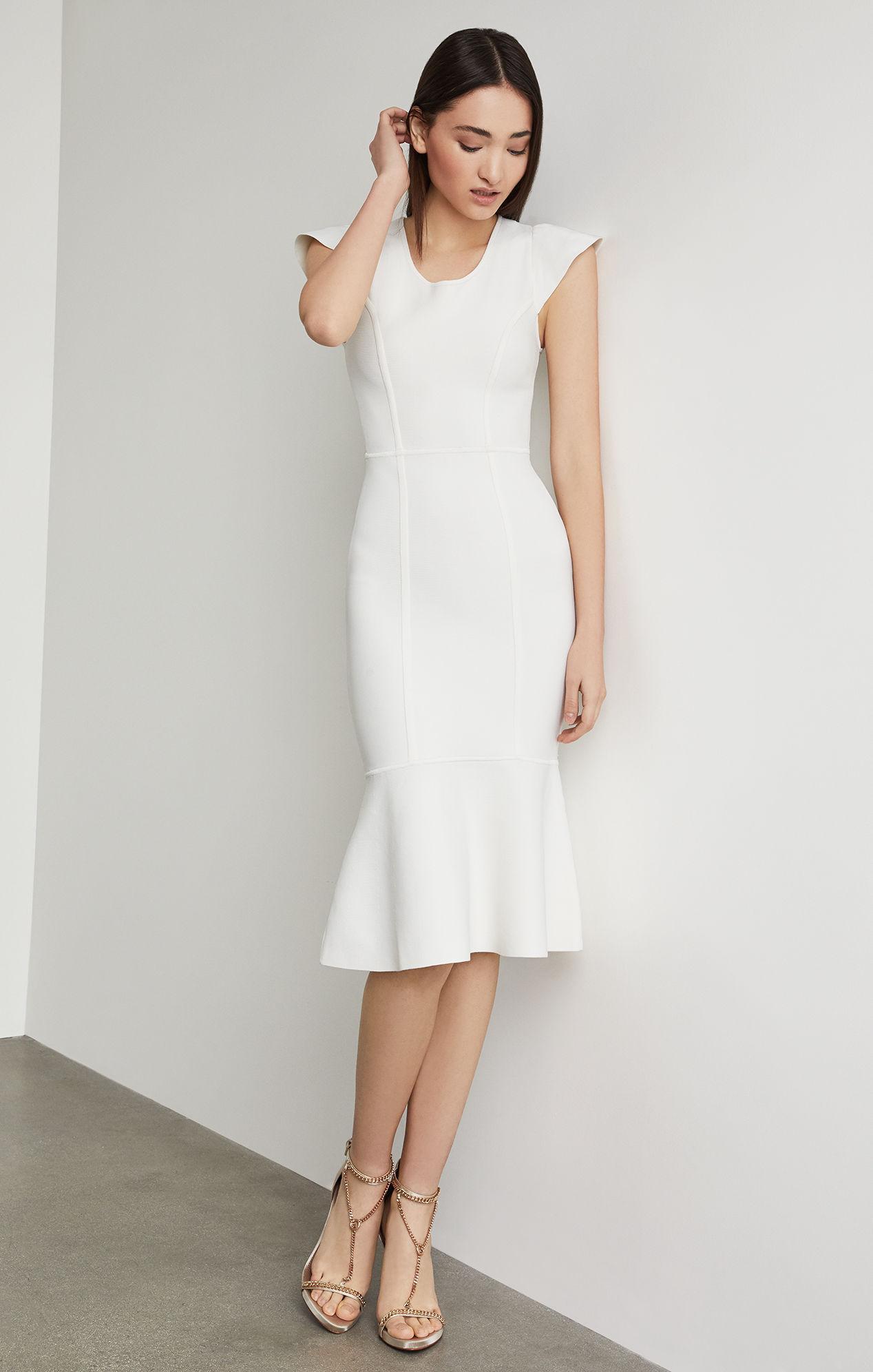 d32592ef026 Lyst - BCBGMAXAZRIA Bcbg Fluted Bodycon Dress in White