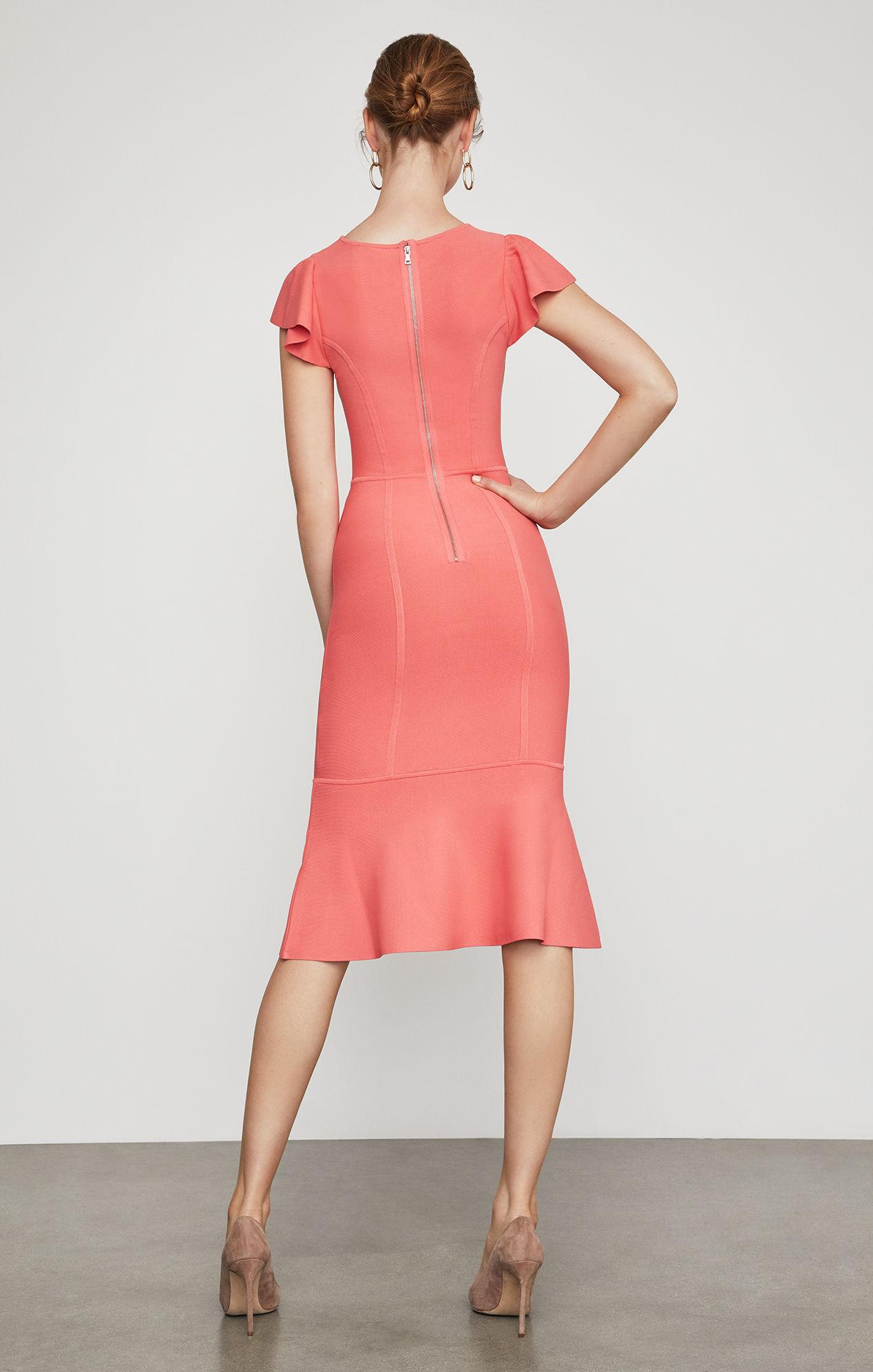 619656cf31c Lyst Bcbgmaxazria Flutter Sleeve Bodycon Dress In Pink