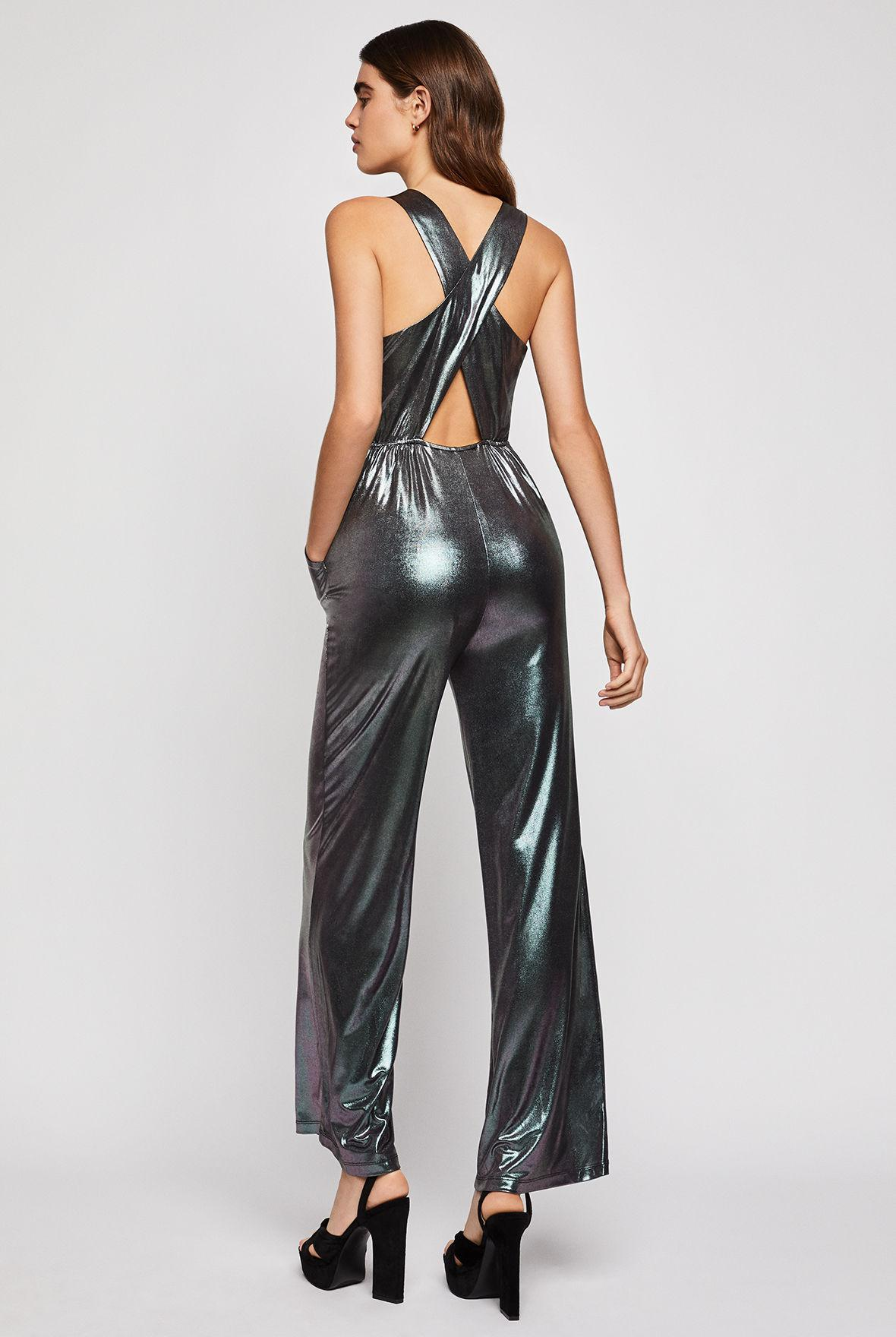 7ca04aba454b Lyst - Bcbgeneration Metallic Crisscross Back Jumpsuit