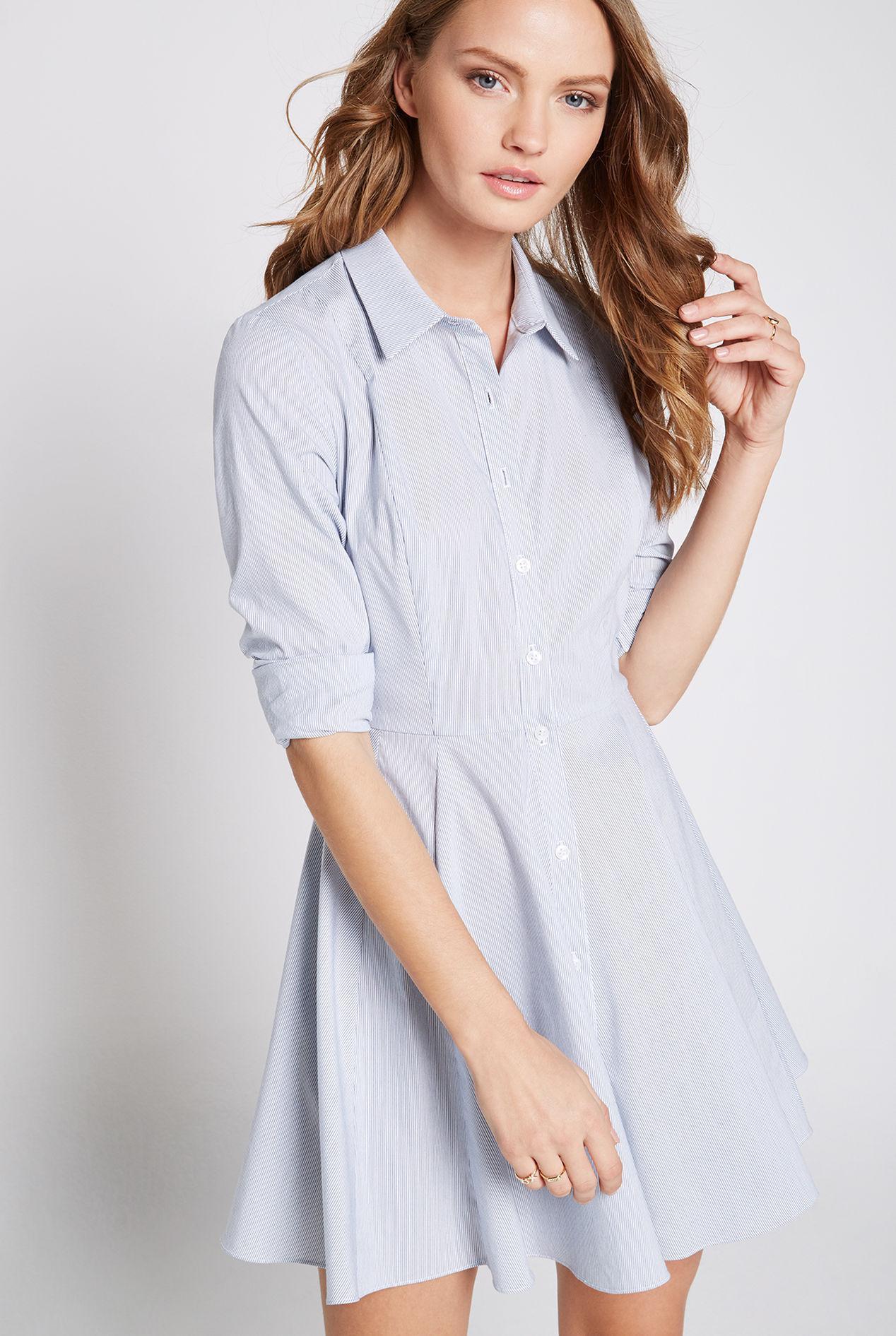 ba298778c39 Bcbgeneration Flared Button-up Shirt Dress in Blue - Lyst